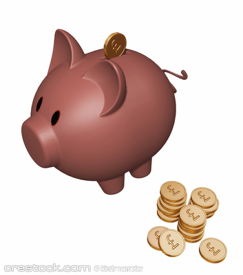 3D render of piggy bank with pound coins